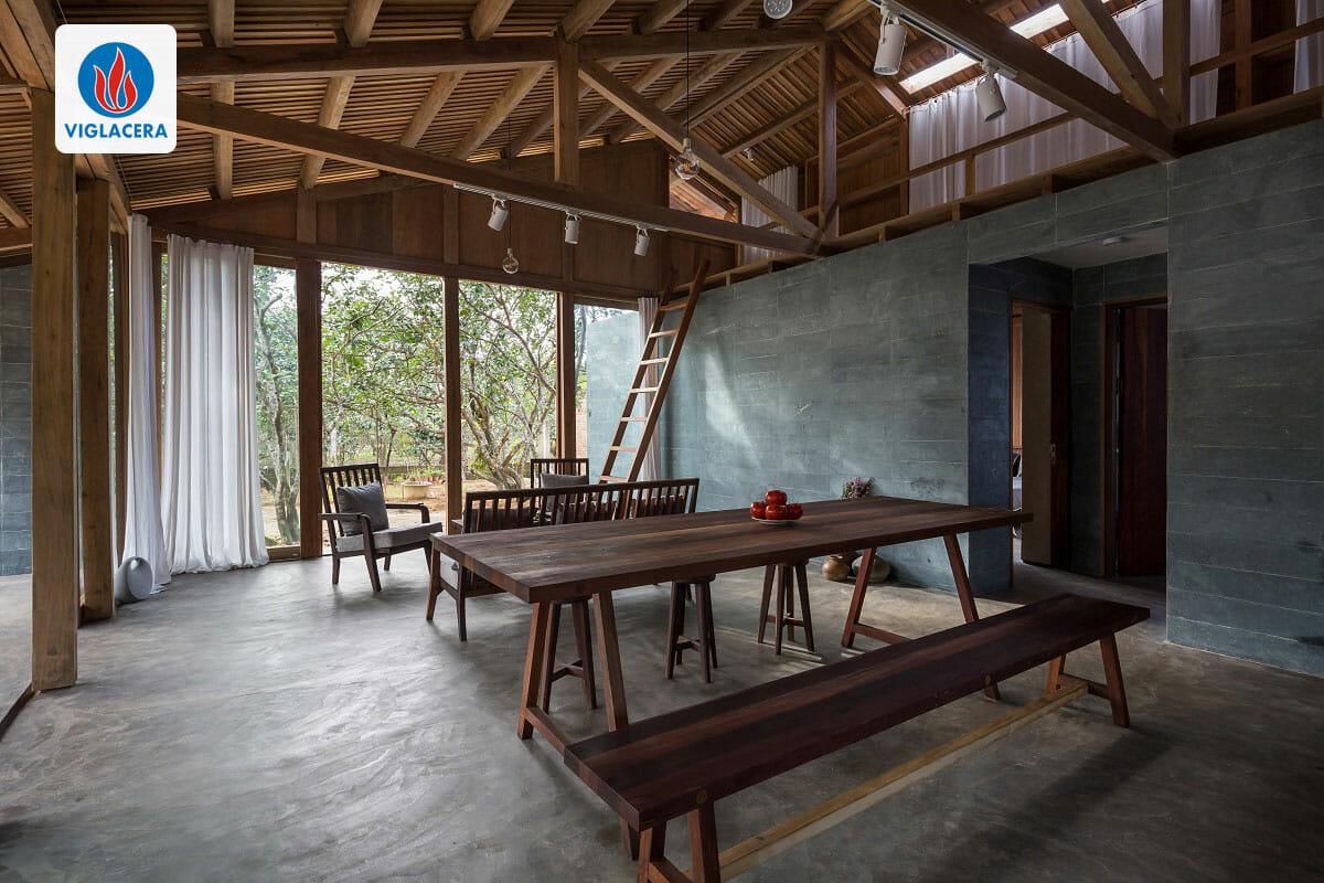 Nhà gồm 1 không gian chung và 2 phòng ngủ