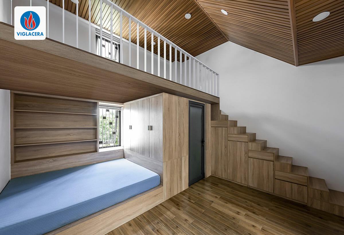 Phòng ngủ có gác lửng giúp chủ nhà tối ưu chi phí, không phải xây thêm 1 tầng đồng thời tạo không gian gắn kết trong gia đình