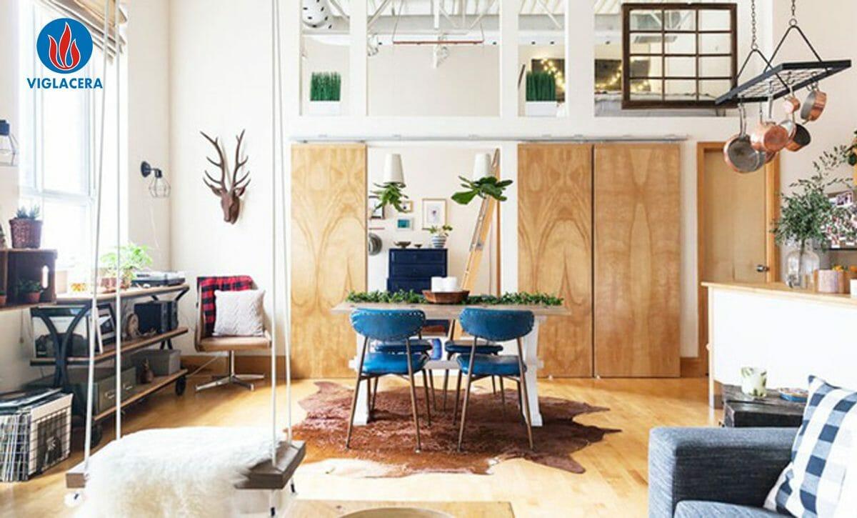 Sử dụng thảm lông cho không gian bếp